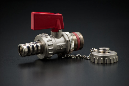 Brass KFE Valve vernickelt - 1/2 inch / AG x AG + Cap and Hose
