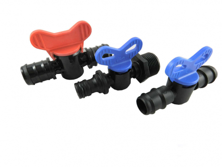 PP mini ball valve with spout / AG / Gardenakupplung