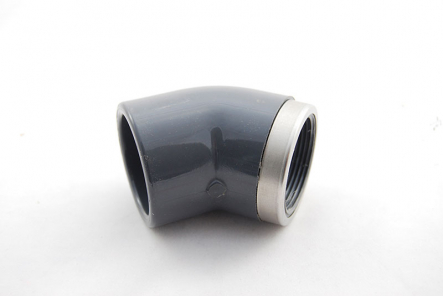 PVC Elbow 45 Degree - 40mm x 1 1/4  Inch / Glue Socket x Female Thread VA