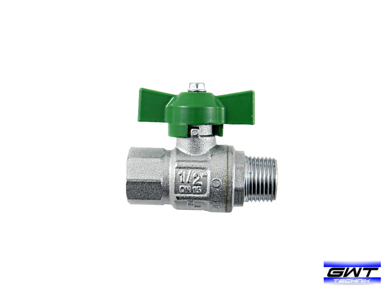 Brass ball valve with wing handle - drinking water Approved DVGW - inside x external thread