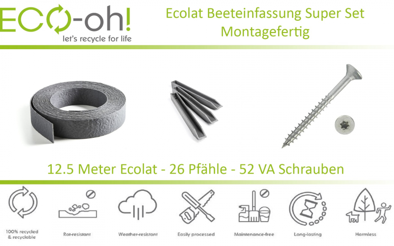Ecolat Set Gray 12.5 meters Incl. stakes & VA screws
