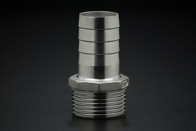 Stainless Steel Hose Nozzle - 3/4 Inch x 19mm / Male Thread x Hose Nozzle
